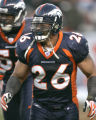 1066 Denver Broncos Paul Smith celebrates after making an open field tackle on a kick off against...
