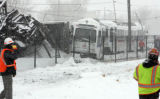 A Burlington Northern train collided with a Rapid Transit Department light rail commuter train in...