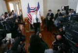 Republican presidential hopeful Mitt Romney speaks in Carlton Hall at Fort Des Moines in Des...