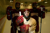 029 Anthony Maiani, a sophomore forward for the University of Denver Hockey team is a big help to...