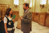 Jamie Heffelberg (cq) an 8th grade student at Rifle Middle School talks with Rep. Randy...