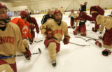 089 Anthony Maiani, a sophomore forward for the University of Denver Hockey team is a big help to...