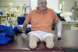Donald Roberts takes a break during a rehabilitation session at Spalding Rehab Hospital in Aurora...