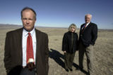 Standing on property of Sterling Ranch 2/19/09, developers L-R-  Jack Hoagland, Diane Smethills,...