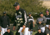(0361) Coach Jim Tracy laughs during ragball during Colorado Rockies spring training at Hi Corbett...
