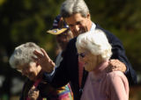 (10/07/2004) Englewood-Presidential candidate Senator John Kerry walks to a press conference with...