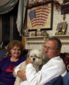 (Arvada, Colo., October 8, 2004)  Wally Gulden and his wife, Connie,  relax with their Shih Tzu,...