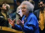 Representative Gwen Green D- Golden speaks during debate on amendments to SB108, the Transportaion...