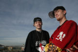 Lowell Hines, 21, (cq) (RIGHT) and Richard Hammack, 18, (cq) of Wheat Ridge stand near the...