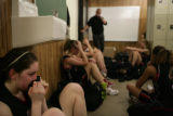 #20 Caitlin Higgins (cq) of Fairview sits with her team after they lost to Green Mountain during...