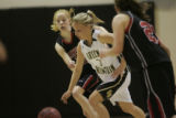 #3 Laura Schaefer (cq) of Green Mountain is guarded by #15 Kristen Narum (cq) of Fairview during...