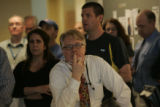 Randall Roberts, Administration Editor of the Rocky Mountain News, listens to Rich Boehne, E. W....