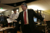 Mark Contreras, E. W. Scripps Senior Vice-President of Newpapers, reads from a list of notes after...