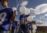 (AURORA, Colo., September24, 2004) The freshman members of the Grand View football team take the...