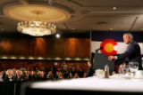 President George W. Bush speaks at the Brown Palace Hotel, during a $1,000 a plate fundraiser for...