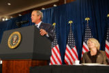 President George W. Bush speaks at the Brown Palace Hotel, during a fundraiser for Congresswoman...