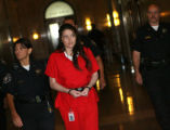 Amber Torrez, 21, is brought into the Denver District Court to stand trial for first-degree murder...