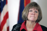 Boulder District Attorney  Mary Lacy answers questions to a select group of media at a press...