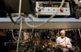 John L. Hall, co-winner of the 2005 Nobel Prize in physics, talks in his former laboratory on the...