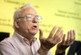 John L. Hall, co-winner of the 2005 Nobel Prize in physics, talks during a press conference at the...