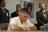Joseph Sperry, cq, whose wife Rocio Sperry was murdered,  attends a press conference at the El...