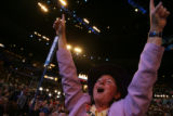 Sonya Jaquez Lewis, a Colorado national delegate, cheers during Pennsylvania Gov. Ed Rendell's...