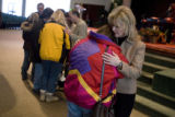 DM1100   Janice Smith, right, prays with Sue Palmer after the 11:00 a.m. service at Faith Bible...