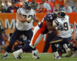 (DENVER, COLO., SEPTEMBER 26, 2004) - Denver Broncos #75, Monsanto Pope, center, beats San Diego...