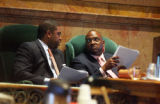 Speaker Terrance Carol (cq) D-Denver and Sen. President Peter Groff (cq) D-Denver talk during the...