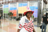 Beverly McCoy (cq) Delegate from Ohio, waits for her bag, after she arrived at  DIA, Sunday...