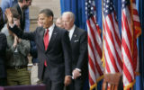 187 President Barack Obama arrive to sign the $787 billion economic stimulus bill at the Museum of...