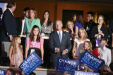 Vice Presidential candidate Sen. Joe Biden  is surrounded by his family members at the Democratic...