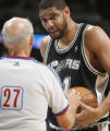 [ JOE0382 ]  San Antonio Spurs Tim Duncan, right, argues a call with referee Dick Bavata during a...