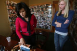Donna Baldwin, left, talks with their newest model, Sarah Miller, 16, of Greenwood Village, who...