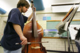 Lincoln High School student Storm Moreno, 15, a freshman, plays the double bass in the String...