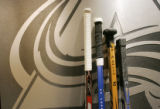 0190 Sticks for Colorado Avalanche players from left, Cody McLeod, Adam Foote, Ryan Smyth, and Joe...