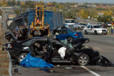 (WHEAT RIDGE, CO. OCTOBER 12, 2004)  A  tractor trailer truck  crossed the I-70 median going east...