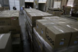 (SR205) (SR132)  Boxes with fresh 64,800 eggs from Colorado egg farmers stand prepared for...