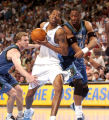 (Denver, CO), SHOT 4/27/04-- The Denver Nuggets Center Marcus Camby goes up for a shot against the...