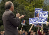 (BOULDER, Colo., September 28, 2004) Salazar speaks and a divergent audience showing support for...