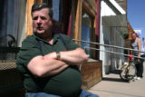 Robert Lowe, owner, cook, and dishwasher at the Bits and Spurs Cafe on Main Street in Ordway, Co ,...