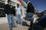 L-R, Logan Pickerill, Chris Love and Emily Pelster hang out on Main Street in Ordway, Co , the...