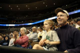(from left) Notre Dame fans, 6 year-old Luke Bergles (cq) and his father, Matt Bergles (cq) from...