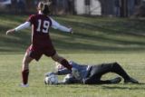Class 5A Jefferson County League Girls soccer Dakota Ridge's goalie Rachel Roberts stop this one...