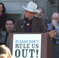 CODER101 - Rep. Wes McKinley (cq) D-Walsh, speaks at rally for  the Colorado Oil and Gas...