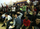 Winners of honor roll status cheer their teachers at North HS's rally in Denver, CO on Friday...