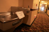 The drinking fountain in the Holiday Inn Express in  Alamosa has a familiar sign out it after...