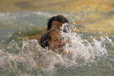 DM0081   Vienna Danna, 3, swims at the Recreation Center at Eastridge with her dad, Paul, in...