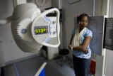 DM0308   Kenyonna Kelly, 11, holds still as an x-ray is taken of her shoulder in the emergency...