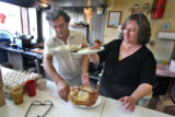 Pete Gatseos (cq) and his wife Kathy (cq) prepare food at their restaurant, Pete's Cafe,  on 514...